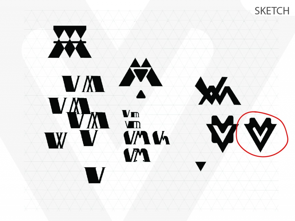 Vehimotus brand logo design sketch