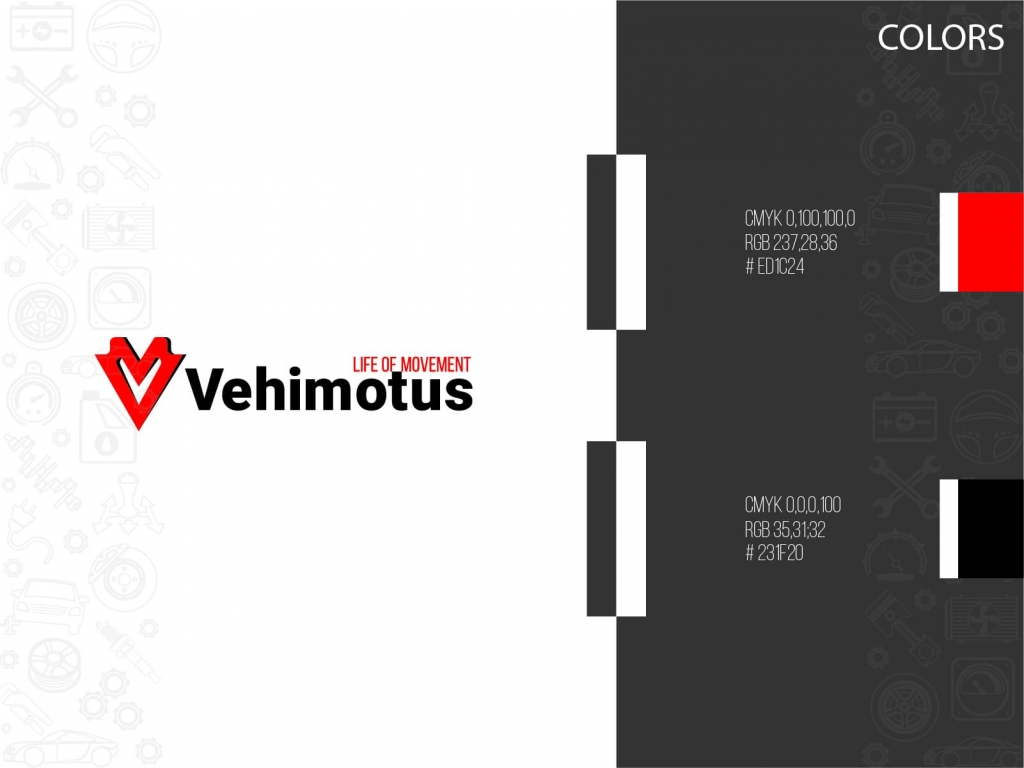 Vehimotus brand logo design colors