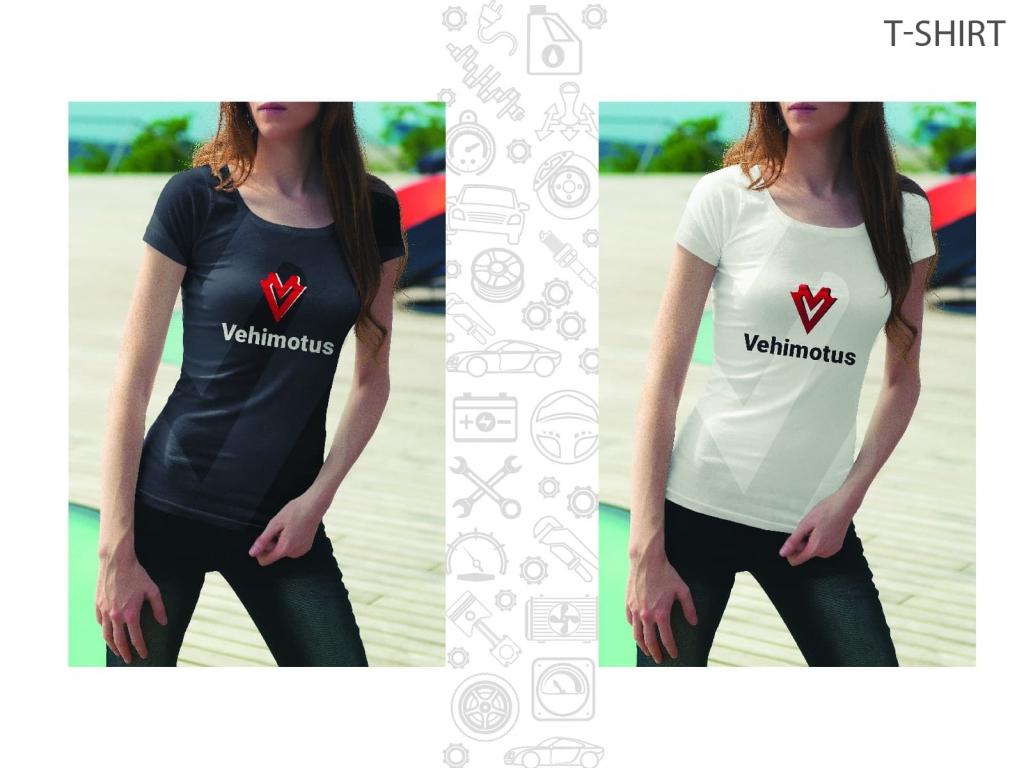 Vehimotus brand logo design t-shirt