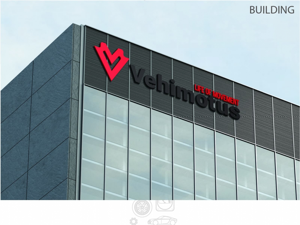 Vehimotus brand logo design building